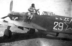 Yakovlev Yak-9U of N.F.Kizim (on the wing) from 151 GvIAP (Guards' Fighter Regiment) on Yampol airfield, Bulgaria (1945) Советский истребитель Як-9 Н.Ф. Кизима в Болгарии