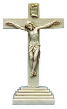 Antiqued Alabaster Standing Altar Crucifix – Beattitudes Religious Gifts