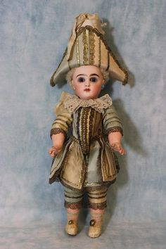 "Antique 12"" French Tete Jumeau Doll Polichinelle Outfit St Wrists Skin Wig 1886 in Dolls & Bears, Dolls, Antique (Pre-1930), Bisque, French 