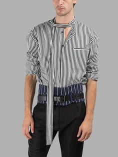 HAIDER ACKERMANN Haider Ackermann Men'S Black/White Striped Shirt. #haiderackermann #cloth #shirts