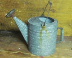 Vintage Watering Can ~ Wood Handle ~ Galvanized Metal ~ Complete With Spout End