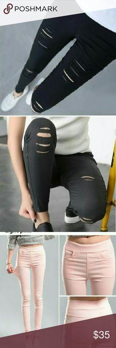 ❗Sale❗Stretch destroyed skinny pants Black stretch destroyed pants front and back pockets cotton/poly/spandex Pants Skinny