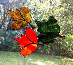 Floating Trio of Autumn Fall Leaves Stained by StainedGlassAndMore, $39.99