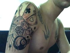 Cool gambling designs on shoulder for men tattoo - tattoos book New Tattoos, Tattoos For Guys, Tattoos For Women, Cool Tattoos, Creative Kids Snacks, Long Haired Chihuahua, Pretty Blue Eyes, Healthy Filling Snacks, No Dairy Recipes