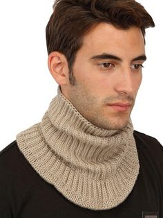 54cd9c3aedc Neil Barrett Ribbed Knit Wool Mix Knitted Neck Scarf in Beige for Men (camel).  Lyst