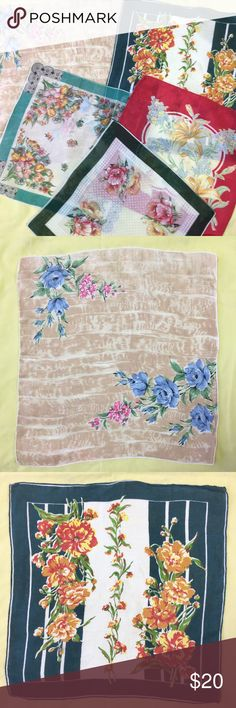 """Set 5 Vintage Handkerchiefs, Pretty Ladies Hankies Gorgeous set of five vintage handkerchiefs. Soft, thin, and beautiful florals. They are all 40+ years old, and may have normal wear. The red has a stain on one edge, shown in photos. Vary in size from 12""""x12"""" to 15""""x15"""". Vintage Accessories Scarves & Wraps"""