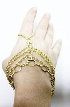 3 Strands Index Gold Chain Slave Bracelet by NightingaleWorkshop, $24.90