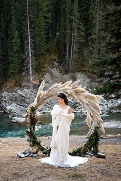 Pampas Grass Circular Ceremony Arbor Frames The Rocky Mountain River - Mon Cheri Bridals Nordic Wedding, Pagan Wedding, Viking Wedding, Forest Wedding, Boho Wedding, Rustic Wedding, Dream Wedding, Wedding Arbors, Wedding Ceremony Backdrop
