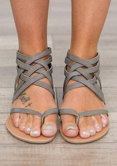 Summer Cross-Tied Zipper Flat Sandals #sandals #shoes #summer #summerstyle #trendingnow #fitness #new #giftidea