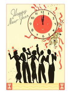 Happy New Year, Men in Tuxedos, Clock at Midnight Premium Poster at Art.com