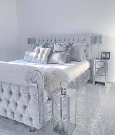 Grey sleigh bed in velvet with silver satin sheets & pillows w/mirrored furniture. Great mod/contemporary guest room—best for your eclectic cousin Polexia who lives in The Village or your so boss coed Glam Bedroom, Silver Bedroom Decor, Silver Room, Silver And Grey Bedroom, Bedroom Bed, Grey Bedroom Design, Trendy Bedroom, Girly Bedroom Decor, Romantic Bedroom Design