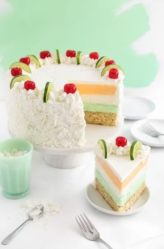Tropical Sherbet Cake-Get your hourly source of sweet. Frozen Desserts, Just Desserts, Delicious Desserts, Dessert Recipes, Summer Cake Recipes, Food Cakes, Cupcake Cakes, Cupcakes, Desert Recipes