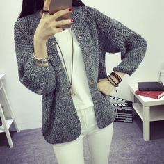 2016 autumn women's casual short design solid color V-neck three qurlter cardigan sweater with rivet knitting top outerwear