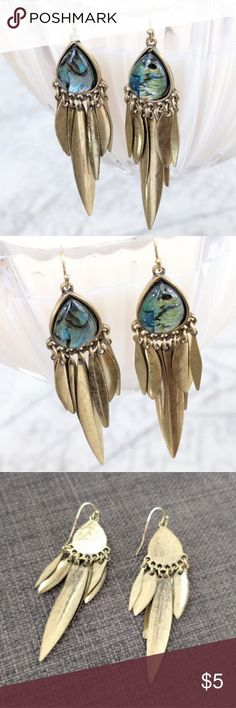 "Unique dangling earrings Gently used in great condition!  Aged gold tone with iridescent? cabochons.  Lightweight but nicely made.  About 2.5"" long.  Price is firm because it's so low.  Add to a bundle to save 10% today Jewelry Earrings"