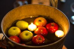 bobbing for apples can get messy. i love this centerpiece idea instead.