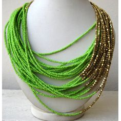 Green and Gold Multi Strand Beaded Necklace