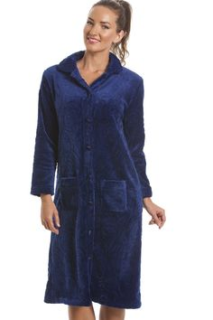 460a585808 Camille Womens Ladies Luxury Supersoft Navy Blue Button Up Fleece Housecoat  at Amazon Women s Clothing store