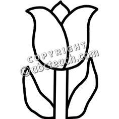 Clip Art: Tulip (B&W) - Spring