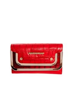 112d78242bf Image 1 of River Island Red Double Metal Bar Foldover Purse
