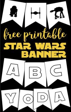 Free Printable Star Wars Banner. Star Wars decor ideas for a Star Wars birthday party or baby shower. Tie fighter, R2D2, ATA, Millenial Falcon, and Star Wars font letters. #papertraildesign #starwars #starwarsparty #starwarsdecor