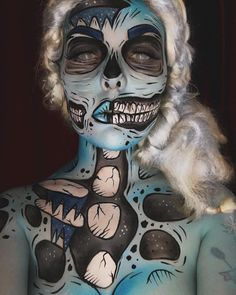 """WINTER WONDERLAND ❄️ Icy pop art zombie from the North Pole!  Product details  @mehronmakeup Light Blue, Storm Cloud, Lagoon Blue, White & Black…""Ash Clements"