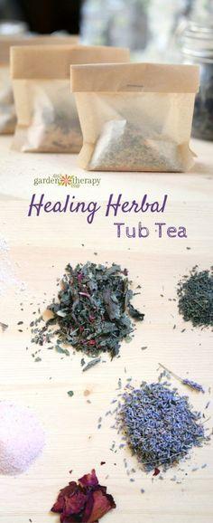 Make herbal tub teas for a soothing bath with no clean up #tubtea #bathtea #naturalbeauty #plantbasedbeauty