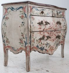 Italian 19th Century Painted Bombe Chest | From a unique collection of antique and modern commodes and chests of drawers at https://www.1stdibs.com/furniture/storage-case-pieces/commodes-chests-of-drawers/