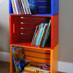 Wood Crates become kid storage shelves!  Free Info On Wood Work D-I-Y Projects  http://www.woodprofits.com/?hop=megairmone