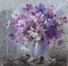 Cosmos Flowers and Sparrows. Elena Perminova