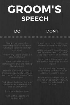 Wedding groom speech dos and donts - Groom Speech Examples We get lots of feedback from readers that it is all well and good to provide a guide for the groom writing their speech, but people really want real groom speech ideas that they can Wedding Planning Tips, Wedding Tips, Wedding Ceremony, Wedding Venues, Wedding Speeches, Wedding Hacks, Wedding Blog, Wedding Ideas For Groom, Budget Wedding