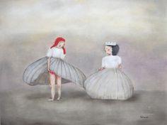 """fine art print, giclee print, winter snow queens. figure art. girls portrait giclee art print. """"Scandalous"""""""