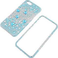 Rhinestones Protector Case for Apple iPhone 5, Blue Silver Gems Full Diamond