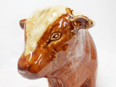 Brown Bull China Figurine Unsigned Vintage Animal Collectables Home Decor Ceramics by BelieveToBeBeautiful on Etsy