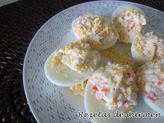 Huevos rellenos de cangrejo ¡Que delicia tan sana!