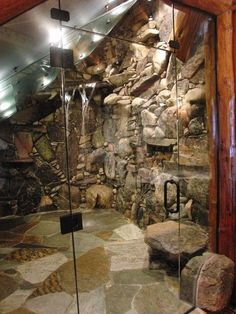 very cool natural rock stone shower