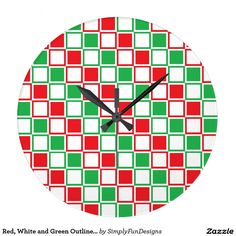 Red, White and Green Outlined Squares Large Clock