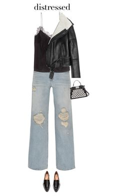 """""""True Blue: Distressed Denim"""" by beachkidwithdirtyvans ❤ liked on Polyvore featuring Alexander Wang, H&M, Lot78 and Fendi"""