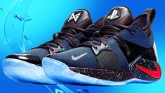 Nike and PlayStation have teamed up with basketball star and massive PlayStation fan Paul George to create the beautiful PlayStation Colorway sneaker. Paul George Sneakers, Paul George Shoes, Nike Paul George, Playstation, Nike Shoes, Sneakers Nike, Shoe Gallery, A Bathing Ape, Basketball Sneakers