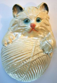 Vintage Plaster Chalkware Cat Kitten Ball of Yarn String Holder Wall Plaque | eBay