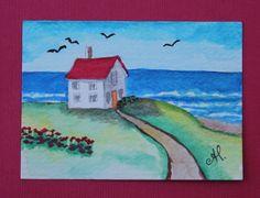 PAINTING Original ACEO  Watercolor & pencil - Seashore beach landscape house #IllustrationArt Art And Illustration, Beach Landscape, Watercolor Pencils, Artist Painting, Original Paintings, The Originals, House, Life, Ebay