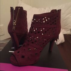 Burgundy/wine color cut out heeled booties 4 inch heel back zipper with tassel peep toe diamond cut out pattern booties size 9 WIDE very comfortable and roomy IMO they run big Lane Bryant Shoes Ankle Boots & Booties