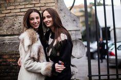 Larissa Marchiori & Waleska Gorcezvski after Alberta Ferretti AW15. Photo: Melodie Jeng