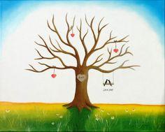 Wedding tree Wedding gift Guestbook Fingerprint tree by JulsiArt