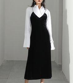 Slip dress w/button-up pitting work-a-day w/fluid femininity Size + Fit: - In stock - US Size: / / / - EUR Size: / / / - Length: / - Bust: / - Waist: / - Model is wearing size smal Muslim Fashion, Modest Fashion, Hijab Fashion, Korean Fashion, Fashion Dresses, Asian Fashion Style, Petite Fashion, Runway Fashion, Womens Fashion