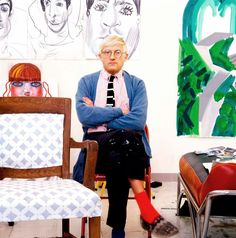 Image of David Hockney in his own art