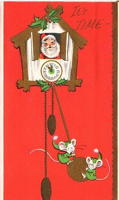 """It's time"" vintage Christmas card with Santa. A Stuart Card."