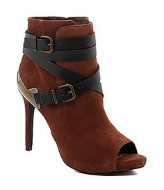 I'm pretty sure I need to own these! Gianni Bini Sevyn Belted Peep-Toe Booties