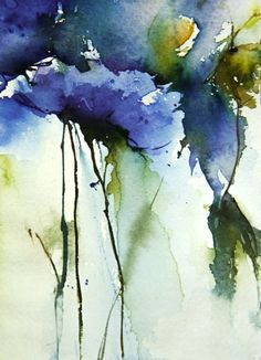 This watercolor paint is an impression of lue flowers in my garden.