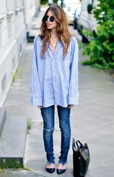 Guys will adore the relaxed vibes of this skinny denim and borrowed from the boys blue button-down. // #Style