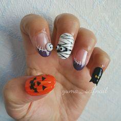 娘のハロウィンネイル★簡単な作り方説明付 | My Favorite!!!-ネイルブログ- Holloween Nails, Halloween Nail Designs, Press On Nails, Cute Designs, Cute Nails, Manicure, Beauty, Projects, Kawaii Nail Art